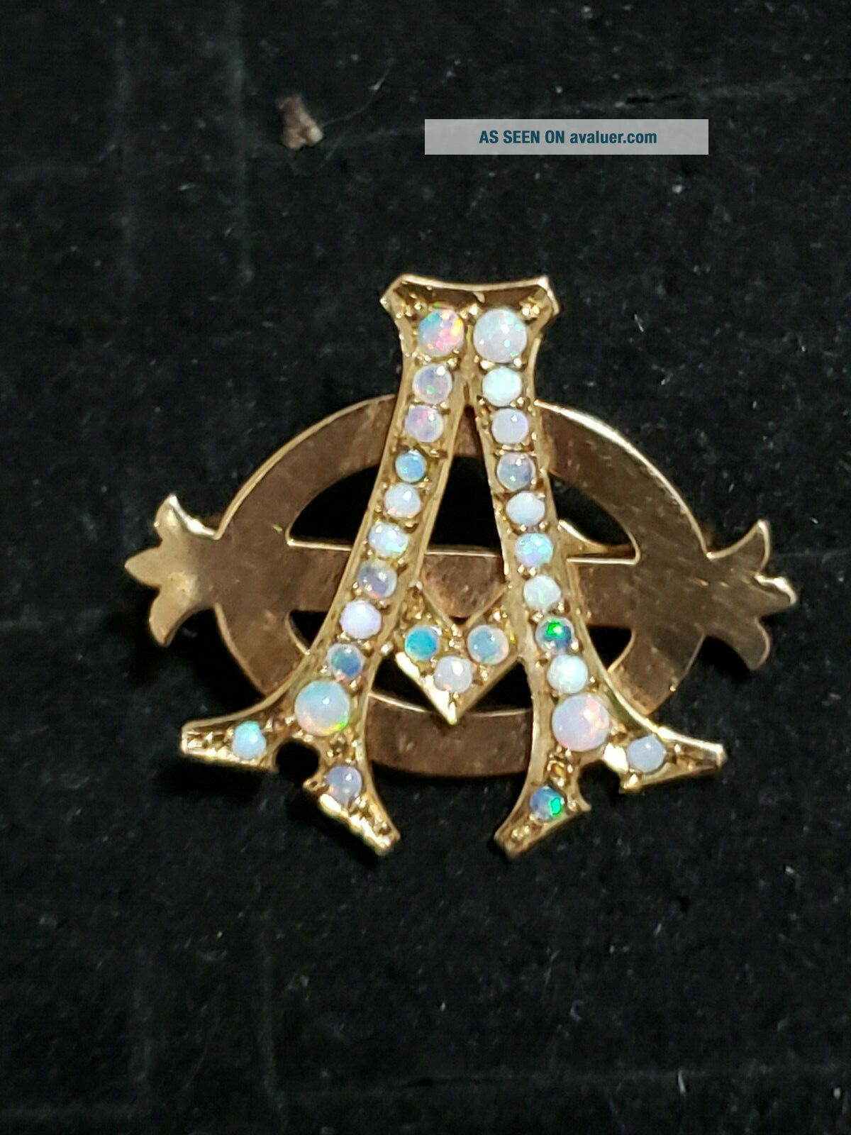 Pre - 1906 Alpha Phi Badge - with Opals - 2.  42 Grams - Lazy Phi Style