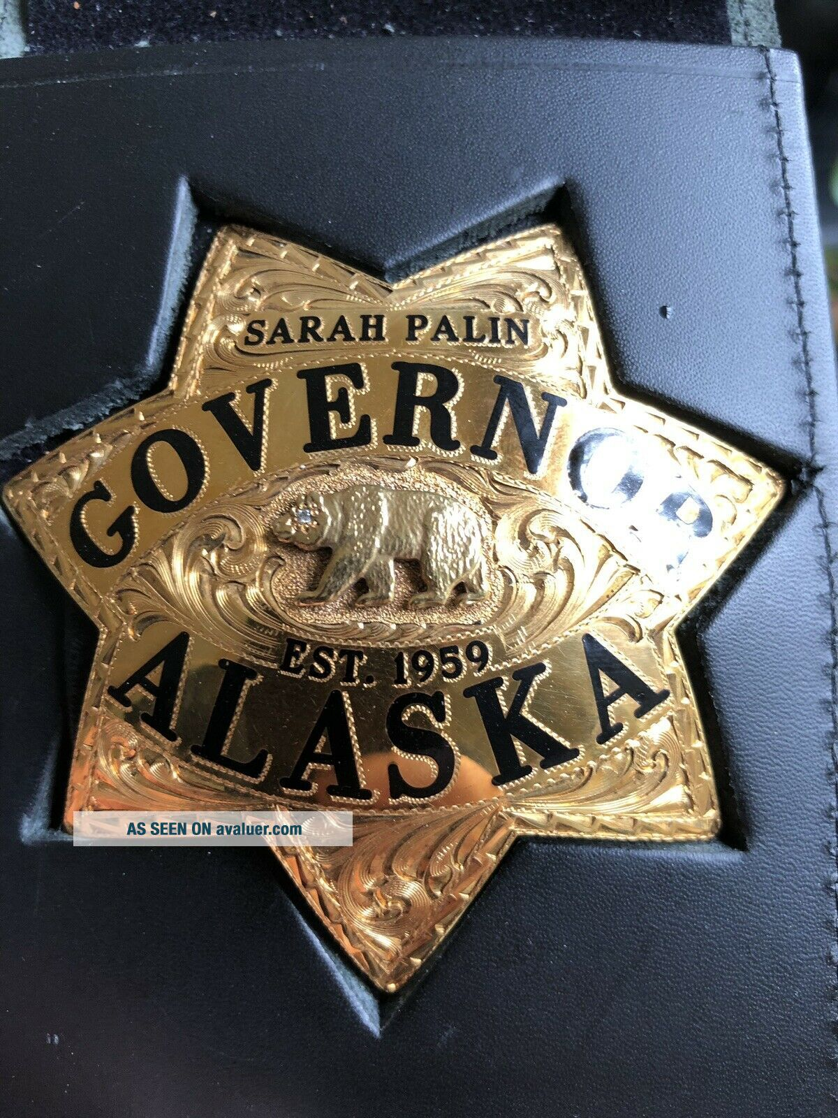 Ed Jones Co.  Gold Filled Solid Gold Diamond Sarah Palin Alaska Governor Badge