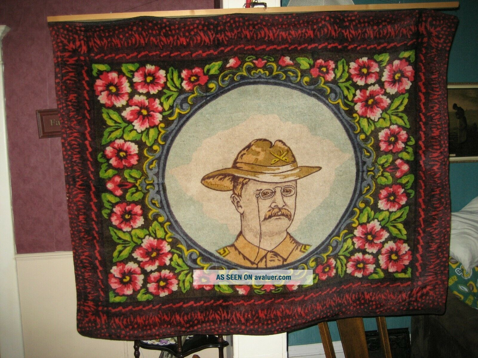 Early 1900 ' s Horsehair Lap Robe,  Blanket - Teddy Roosevelt Rough Rider - Museum Piece