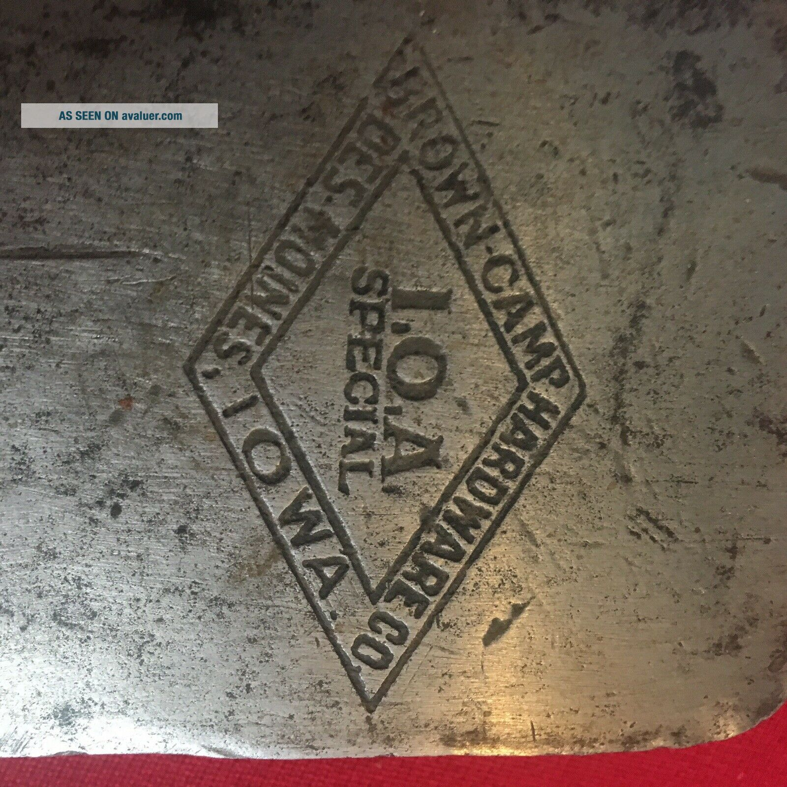 I.  O.  A.  Brown Camp Des Moines Iowa Embossed Axe Single Bit