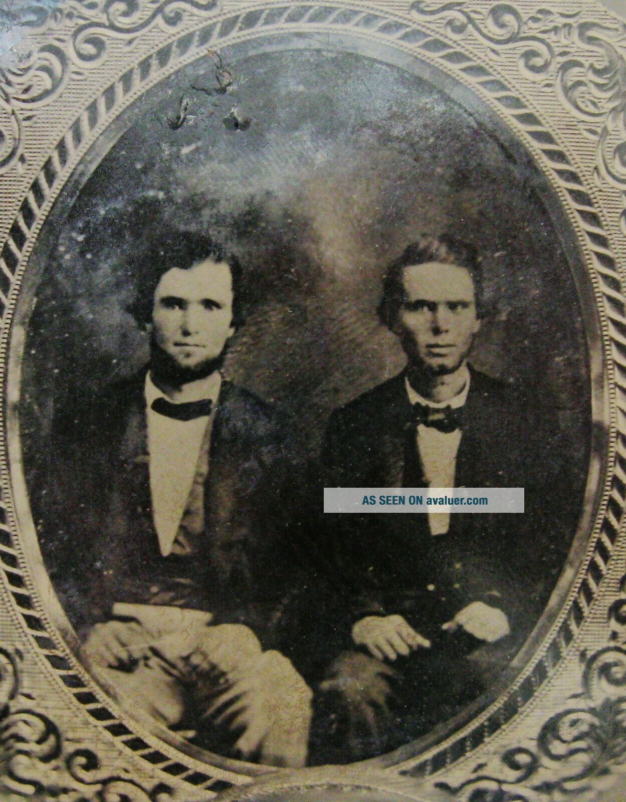 ANTIQUE TINTYPE PHOTO OF 2 HANDSOME DAPPER YOUNG MEN TAKEN FROM AN EARLIER IMAGE