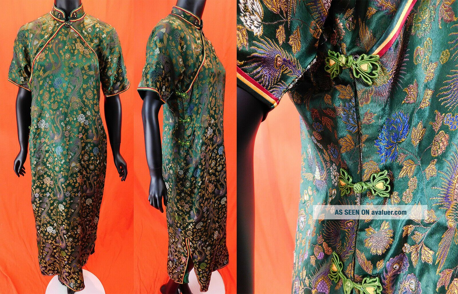 Antique Chinese Qipao Cheongsam Green Brocade Phoenix Fenghuang Banner Dress Vtg