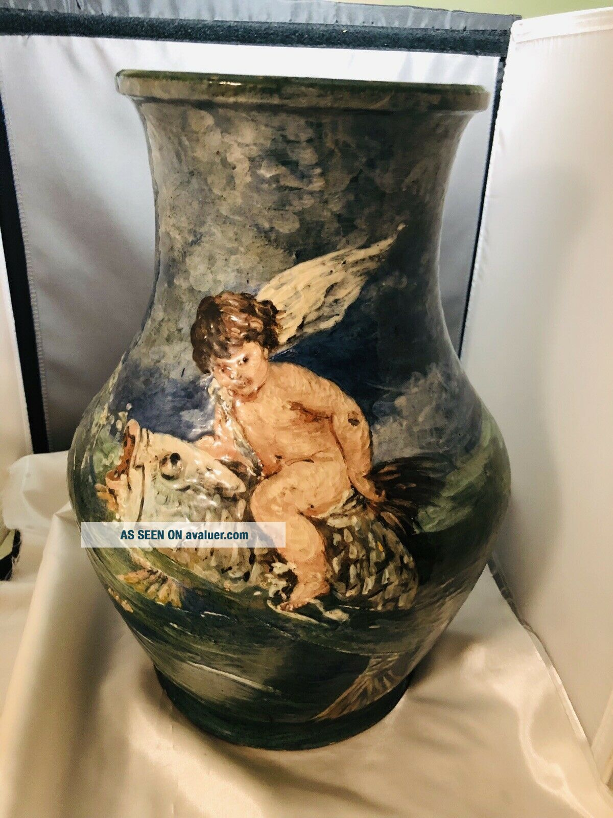 RARE French Limoges Haviland & Co Huge Heavily Enameled Winged Putti Riding Fish