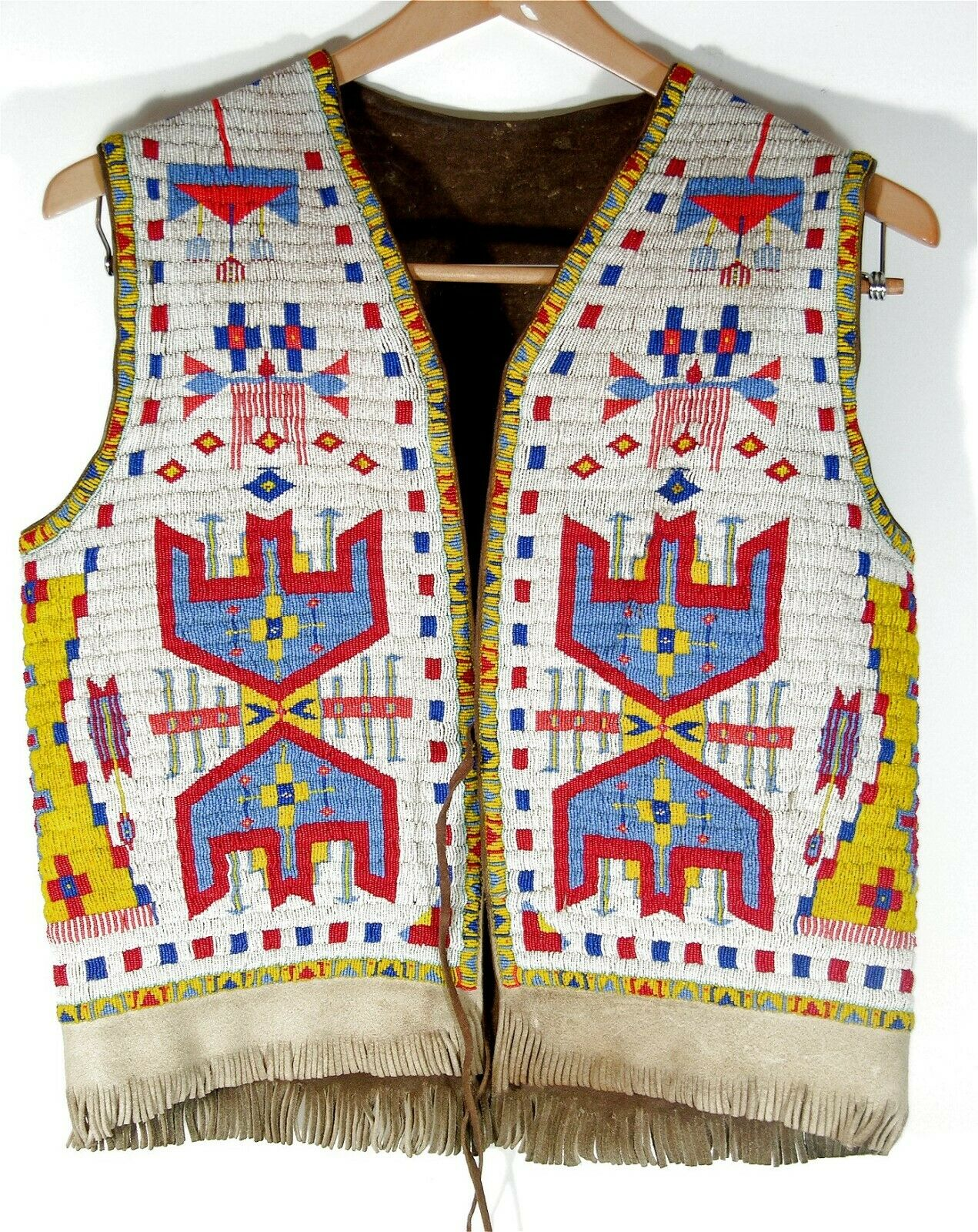 ca1940s NATIVE AMERICAN SIOUX INDIAN FULLY BEAD DECORATED HIDE VEST