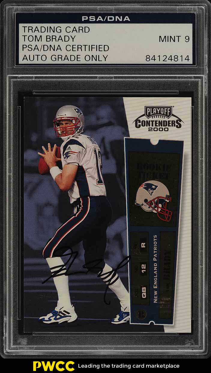 2000 Playoff Contenders Tom Brady ROOKIE RC PSA/DNA 9 AUTO PSA Auth (PWCC)