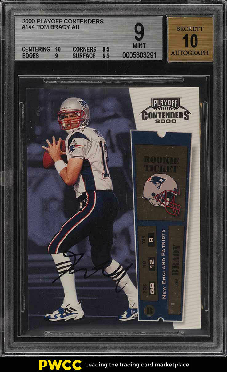 2000 Playoff Contenders Tom Brady ROOKIE RC AUTO 144 BGS 9 (PWCC)