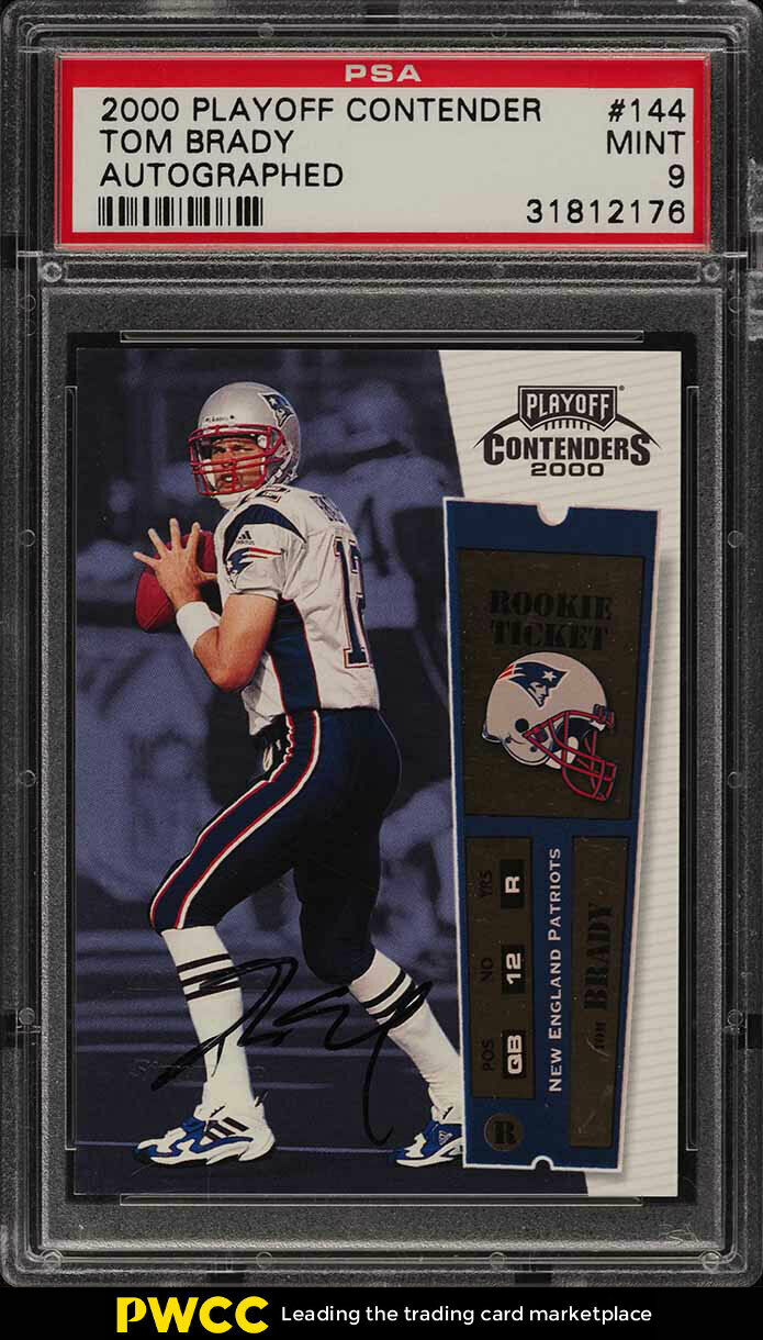 2000 Playoff Contenders Tom Brady ROOKIE RC AUTO 144 PSA 9 (PWCC)